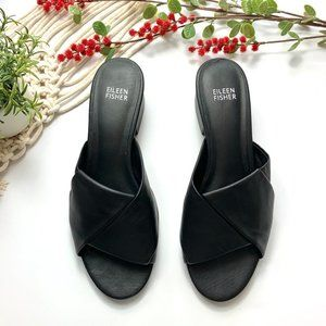 EILEEN FISHER NWOT Slight Heel Black Sandals Shoes